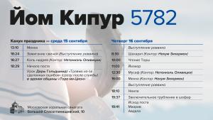 Расписание на Йом Кипур в Московской хоральной синагоге
